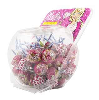 Barbie  Lollipop + bubble gum - lízátko se žvýkačkou  15g
