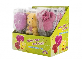 Heart, Bear and Rose - marschmallow lízátka 35g