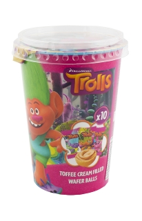 Trolls Cup with wafers balls + tattoo